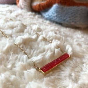 Red Jewel Rectangle Stone Necklace